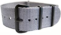 G10 Nato Military Grey Nylon Watch Strap Band Black Buckle 22mm