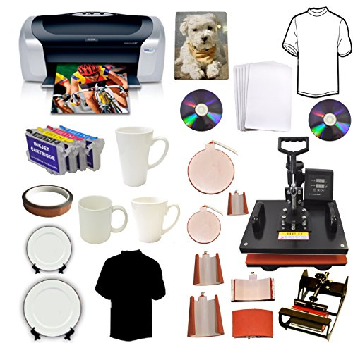 8in1Heat Press,Epson Printer C88,Cartridges,Heat Transfer T-shirts,Mug,Hat,Plate (Heat Transfer Press Hat compare prices)