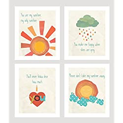 "You are My Sunshine Mini Collection Prints, 5"" x 7"", Set of 4, Nursery Wall Art"