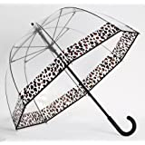 Clear Dome Bubble Umbrella With Leopard Cheetah Print Trim
