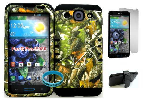 Wireless Fones Tm Lg Optimus G Pro E980 Green Leaf Mossy Camo Hard Plastic Snap On + Black Silicone Kickstand Cover Case Kickstand Holster Belt Clip, Wristband, And Screen Protector Included front-764280