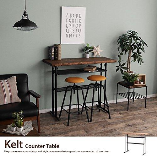 ブラウン/カウンターテーブル レトロ アンティーク テーブル オールドファニチャー ヴィンテージ 無垢材 パイン材 天然木 バーカウンター Kelt 幅110cm ケルト
