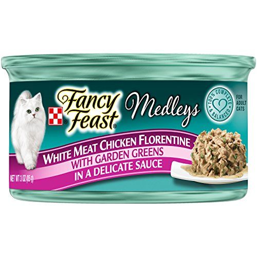 Purina Fancy Feast Wet Cat Food, Elegant Medleys ,White Meat Chicken Florentine with Garden Greens in a Delicate Sauce, 3-Ounce Can, Pack of 24 (Fancy Feast Meat compare prices)