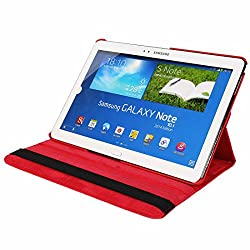 Galaxy Note 10.1 SM-P600 Case, Stand Flip Cover 360 Degree Series PU Leather Premium 360 Degree Rotating Stand Flip Cover With auto wake sleep (Red)