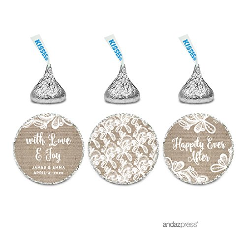 Andaz Press Burlap Lace Wedding Collection, Personalized Chocolate Drop Label Stickers Trio, 216-Pack, Custom Name, Fits Hershey's Kisses Party Favors