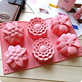 Allforhome 6 Cavities Big Flower Silicone Cake Baking Mold Cake Pan Muffin Cups Handmade Soap Moulds Biscuit Chocolate Ice Cube Tray DIY Mold