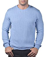 CASHMERE & SILK CABLE CREW NECK SWEATER. MADE IN ITALY. H11