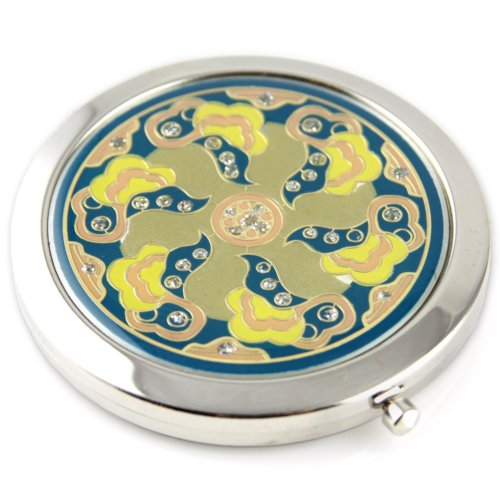 Sacred Flower Sparcle Gel Inlay - Steel Compact Pocket Mirror With Regular And Magnify Dual Sided Mirror - Blue & Yellow