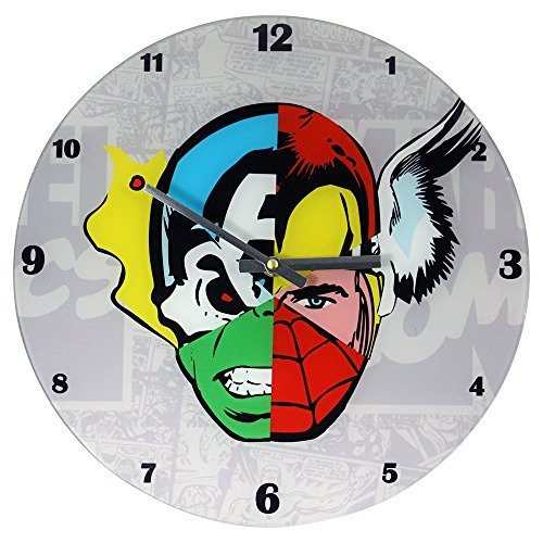 Marvel Comics Mixed Character Faces Glass Clock, 13.75-Inch