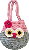 Happy Owl Handbag, Perfect Gift For Little, Young & Teen Girls, Cute Pink & Grey Purse, Handmade Crochet, Soft Yarn, Wristlet For All Ages, Dress-Up & Play Or Use As Cell Phone Case Holder & Pouch