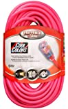 Coleman Cable 02579-03 100-Feet 12/3 Neon Outdoor Extension Cord, Bright Pink