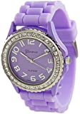 Geneva Platinum Women's 6886.Lavender Purple Silicone Quartz Watch with Purple Dial
