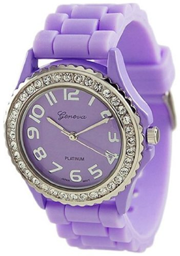 Geneva Platinum Women's 6886.Lavender Purple Silicone Quartz Watch with Purple Dial (Watch Geneva Platinum compare prices)