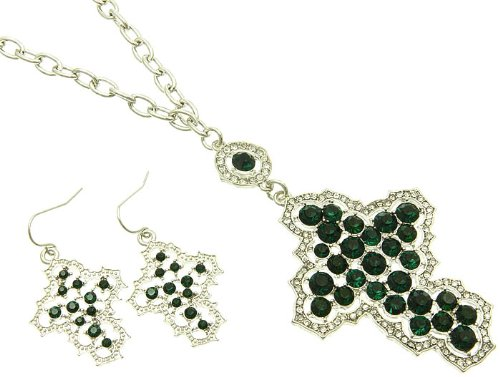 NECKLACE AND EARRING SET METAL CHAIN CRYSTAL STONE PAVED GREEN Fashion Jewelry Costume Jewelry fashion accessory Beautiful Charms
