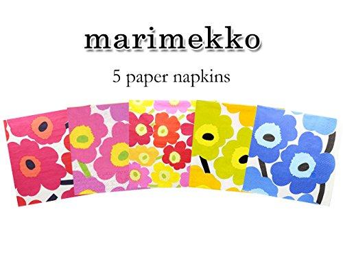 ペーパーナプキン マリメッコ ウニッコ Unikko 5枚セット Vol.3(1枚×5種類) marimekko