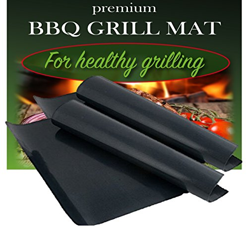 BBQ Grill Mat by Dutch Goods - Set of 2 - 100% Non-Stick Barbecue Mats for Healthy Grilling and Baking. Reusable, Dishwasher Safe Sheets, Perfect for Gas, Charcoal, Electric Grills and Ovens. (Dutch Oven Smoker compare prices)