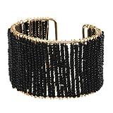 YARUIE Woven Small Imitation Pearl Cuff Bracelet black