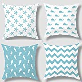 Howarmer® Canvas Decorative Throw Pillows Aqua Blue Decorative Pillows Beach Theme Pillow Case Set of 4 Turquoise Aqua Chevron, Whales,sea Horse and Sea Stars Gifts for Wedding Covers Only