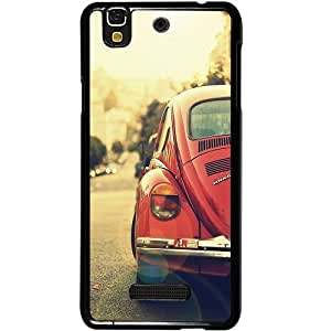 Casotec Vintage Car Pattern Design 2D Hard Back Case Cover for Micromax Yu Yureka AQ5510 / AO5510 - Black