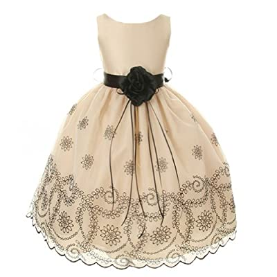 Kids Dream Girls Champagne Floral Embroidered Flower Dress