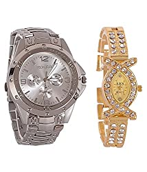 BLUE DIAMOND Combo watches for mens and womens_Rosra silver and X shap golden womens combo watches