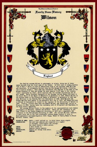 Wilson Coat Of Arms/Crest And Family Name History, Meaning & Origin Plus Genealogy/Family Tree Research Aid To Help Find Clues To Ancestry, Roots, Namesakes And Ancestors Plus Many Other Surnames At The Historical Research Center Store front-507888