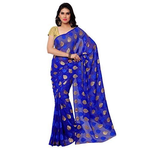 GL Sarees Casual Plain Solid Royal Blue Jacquard Butta Work Saree For Women
