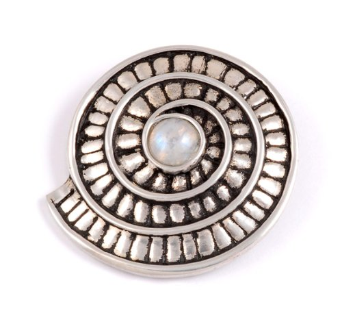 St Justin, Pewter Ammonite Spiral Brooch - Rainbow Moonstone
