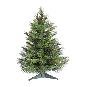 #!Cheap 3' Cheyenne Pine Artificial Christmas Tree with Pine Cones - Unlit