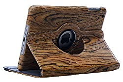 KolorFish Wood Pattern Funky Designer Leather Rotation Stand Book Type Case Cover for Apple iPad Air 2