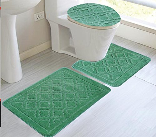 3 Piece Bath Set With Rug Contour Amp Lid Cover Sage