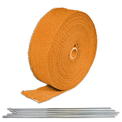 Orange Turbo Manifold Heat Exhaust Thermal Wrap Tape & Stainless Ties 2