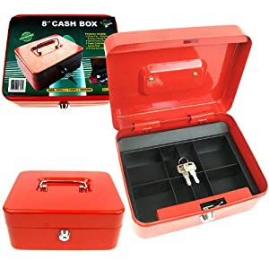 Stalwart. 8 Inch Key Lock Red Cash Box with Coin Tray.