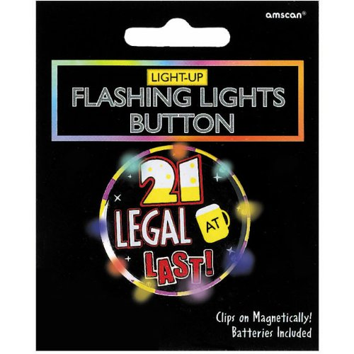 "Amscan Trendy ""21 Legal At Last"" Printed Button with Flashing Lights, Black/Multicolored, 2.25"""