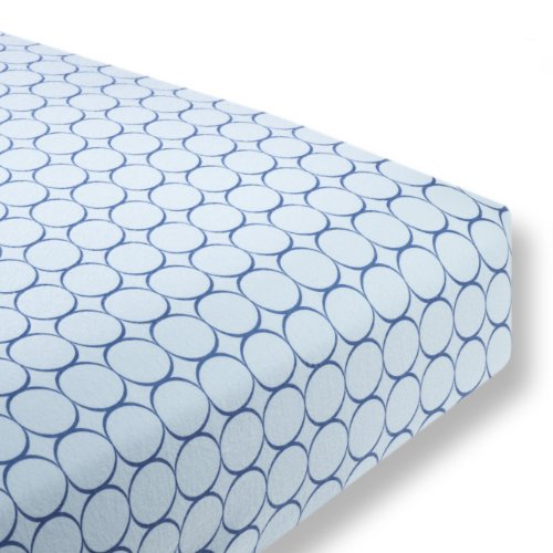 SwaddleDesigns Cotton Flannel Fitted Crib Sheet, Jewel Tone Mod Circles, True Blue