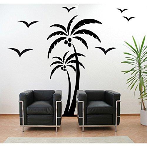 Stickers Palmier et oiseaux - Noir, L 40cm x H 80cm