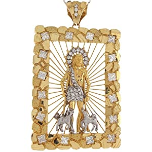 14k Real Two Tone Gold White CZ Accents 10.1cm x 6.19cm Saint Lazarus Pendant