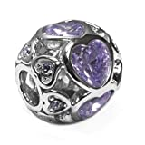 Sterling Silver Large Love Hearts Charm with Purple Crystals, Fits Pandora Bracelets.