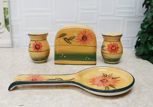 Tuscany Country Sunflower Hand Painted Ceramic Table Top Set, 82925/28 By Ack back-159576