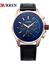 Curren M8187 Expedition Blue Dial Leather Strap Analog Watch For Men's