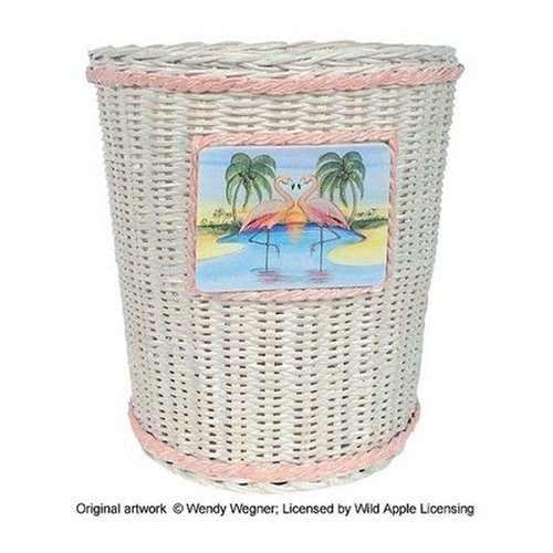 Kids bathroom decor pink flamingo wicker trash can waste for Waste baskets for bathroom