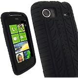 igadgitz Silikon Hülle Schutzhülle Etui Case Tasche in Schwarz mit Reifenprofil-Design für HTC 7 Mozart Windows Smartphone Handy + Display Schutzfolie