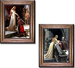 The Accolade & Godspeed by Edmund Leighton 2-pc Premium Bronze Gold Framed Canvas Set (Ready-to-Hang)