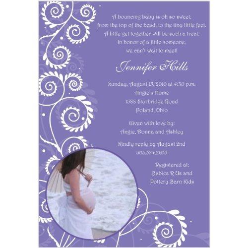 Contemporary Vine Photo Baby Shower Invitations - Set Of 20