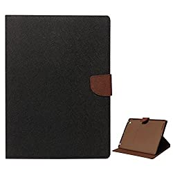 Mercury Textured Wallet Diary Case for Apple iPad 2/3/4 (Black/Brown)