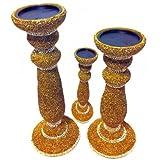 MG Decor Beads Pillar Candle Stand Gold Set Of 3