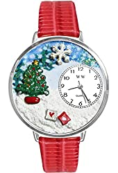 Christmas Tree Red Leather And Silvertone Watch #WG-U1220002