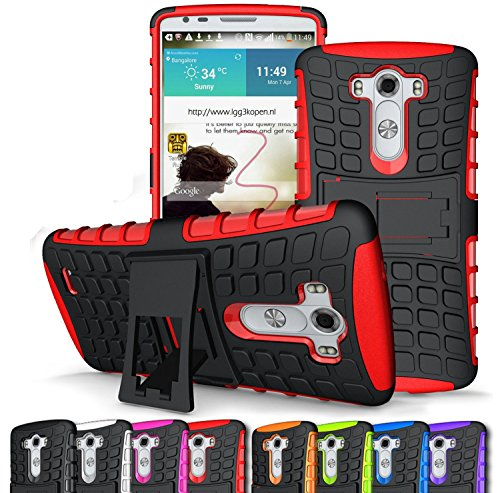 LG G3 case,[Heavy Duty Armor][shockproof][TPU+Hard case Hybrid]Dual Layer Armor Defender Protective Case Cover with kickstand for LG G3 case-Red (Lg G3 Phone Case Speck compare prices)