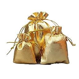 Lilith li Golden Color Jewelry Bag Holiday Festive Bag 50 Pcs / bag (3.5X4.1inches)