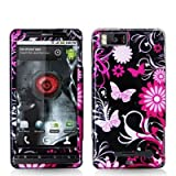 Pink Butterfly Flowers Design Crystal Hard Skin Case Cover for For Motorola ....